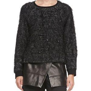 Tibi Gray Fuzzy Tweed Sweatshirt Sweater Pullover